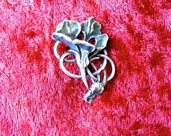 Vintage Sterling Bootch Art Nouveau Flower Design  PIN