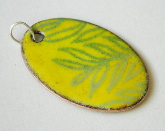 Yellow with Green Leaves Enameled Pendant
