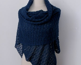 Knitted lace shawl / wrap / scarf, teal green color, alpaca silk blend