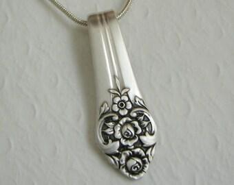 Vintage Spoon Necklace, Spoon Pendant, 'Plantation' 1948, Silverware Jewelry