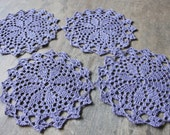 Christmas doily, 4 Coasters set, lace doilies, table decoration, crocheted doilies, centre piece, hand made, eco friendly linen, purple