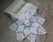 Crochet doily, lace doilies, table decoration, crocheted doilies, centre piece, hand made, table runner, napkin, white, Wedding