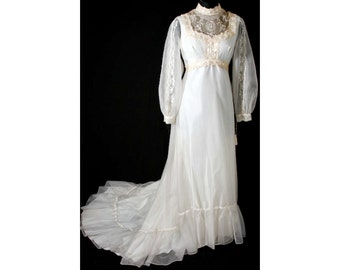 Size 8 Wedding Dress - Victorian Inspired 1970s Organdy Bridal Gown with Satin Ribbon & Cameo Lace - Vintage Wedding - Bust 35.5 - 31831-1
