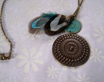 Pendant Boho Style Metal with Feathers Necklace