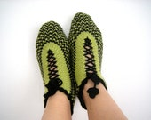 SALE Black,Green,Pistachio Green Square Home Slippers Traditional Turkish Design,Fashionable