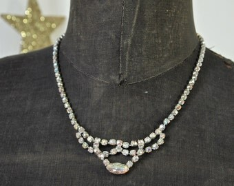 Czech Aurora Borealis Rhinestone Bridal Wedding Necklace 1950's
