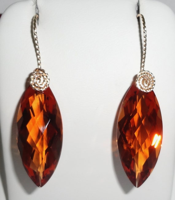 31cts natural Madeira Citrine gemstones, Marquise CKB cut, 14kt yellow gold Pierced Earrings