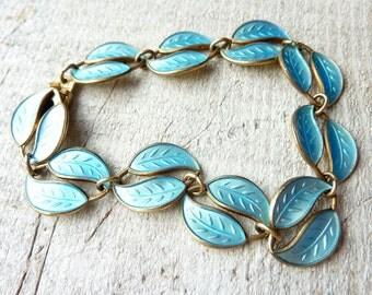 David Andersen Bracelet-Sterling Silver Blue Guilloche Enamel Bracelet -Norway -Scandinavian-Modernist Vintage