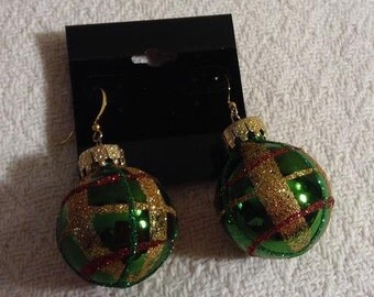 Green Christmas Bulb Earrings
