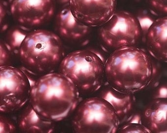 20mm Burgundy Faux Pearl Chunky Bubblegum Necklace Beads 10 ct - Chunky Beads