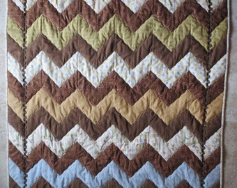Over Hill and Dale Chevron Crib or Child Quilt Pattern