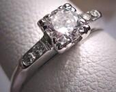 Antique Diamond Wedding Ring Vintage Art Deco 18K White Gold 1/2ct