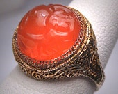 Antique Carved Carnelian Ring Vintage Art Deco Chinese circa 1920 Wedding