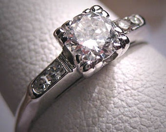 Antique Diamond Wedding Ring Vintage Art Deco 18K White Gold 1/2ct