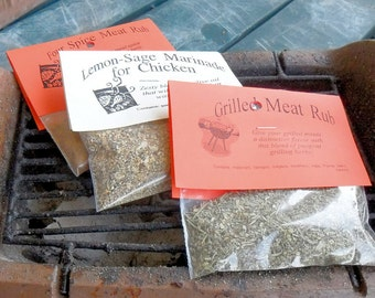 Grill Master Set of 5 dry HERB MIXES, hand-blended, home grown cooking herbs, dips, cheese spreads and dressings