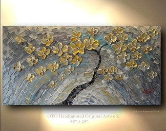 ORIGINAL Painting 24x48 Gold Silver Flower Grey Blue Abstract Painting Art Canvas oil Wall Decor Artwork Impasto Textured art by OTO