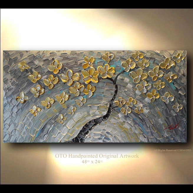 Wall Art Gold And Silver : Original painting gold silver flower grey blue abstract