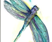 Instant Download Art Print Dragonfly Purple Blue Green Nature