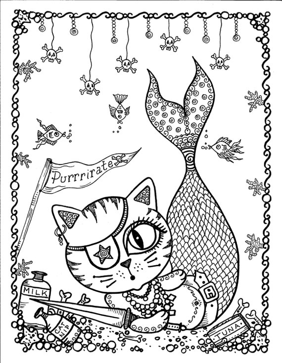 free pirate mermaid coloring pages - photo#20