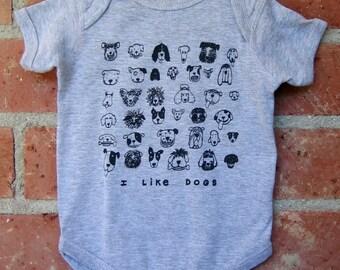 DOGS Grey Baby Bodysuit