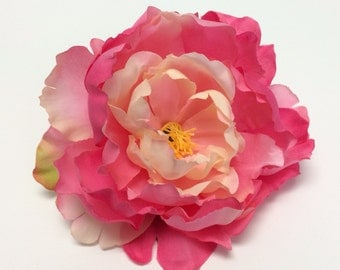 Silk Flower - One Large Peony in Watermelon Pink and Cream - 6 Inches - Artificial Flower