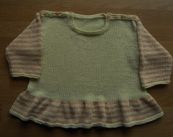 Little girl's top/jumper, age 2-3 yrs, hand knitted in bamboo/silk yarn, Spring and Summer colours of pale green and peach