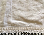Vintage Linen Table Runner with Diamond Shape Crocheted Off White Ivory Lace Trim