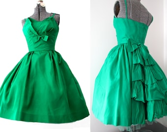 Emerald Green Vintage 50s Christmas Party Prom Dress - Taffeta Tulle Formal Glam Bright Shiny Shelf Bust Holiday Wedding Teen Petite XS S