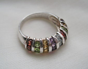 Mens Size 10.5 Sterling Ring w/Multicolored Stones