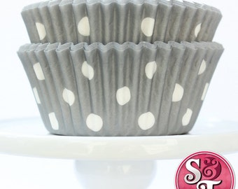 Gray GREASEPROOF Dot Baking Cups Cupcake Liners - Quantity 50