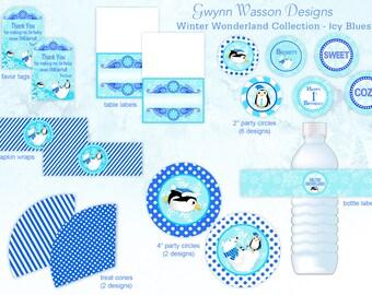 Winter ONEderland Wonderland  Party Decorations - HUGE SET - Icy Blues - Gwynn Wasson Designs PRINTABLES
