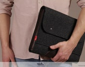 laptop case, macbook case 15 inch, wool felt, leather Corriedale SIZE L CO-L-ADB