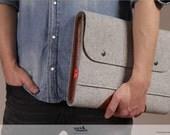 laptop case, macbook case 15 inch, wool felt, leather Corriedale SIZE L CO-L-GLB