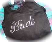 Bride Tank Top - Clear Rhinestones , Thin Script Font , half lace backside - small, medium, large, XL , 1x, 2x, 3x