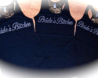 9 bachelorette Party Tank Tops. Bride's Bitches Tank Tops. Bride's Bitches Shirt. Bachelorette Party Rhinestone Tank Tops. Weddings.
