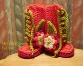 Buggs - Crochet Baby Lace Up Booties w/ Three Tier Flower and Leaf Accent in Coral, Hot Pink, and Grass Green