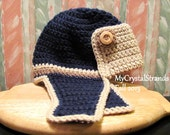 Buggs - Crochet Toddler Aviator/Bomber Hat in Navy Blue, Latte Brown, and Lace w/ Wood Button Accents