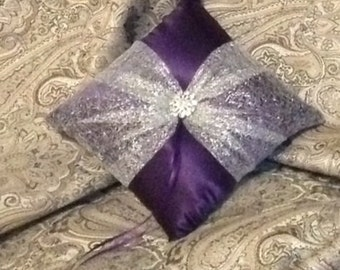 custom made elegant purple with silver bow ring bearer pillow
