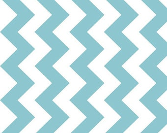 Manufactures Cut Chevron Riley Blake Fabric - Half Yard of Medium Chevron in Aqua