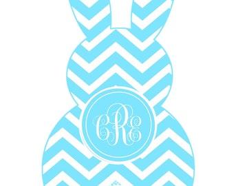 Easter Bunny shape chevron monogram