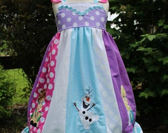 Frozen inspired Dress,  Elsa, Anna and Olaf together in a themed strip Dress inspired by Disney's Frozen, sizes 2T-8girls