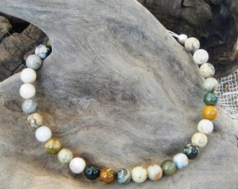 "Gray brown tan ocean jasper bracelet 9"" long semiprecious stone jewelry magnetic clasp packaged in a colorful gift bag 10336"