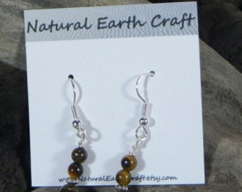 Brown tigers eye earrings jewelry semiprecious stone jewelry packaged in a colorful gift bag 2539