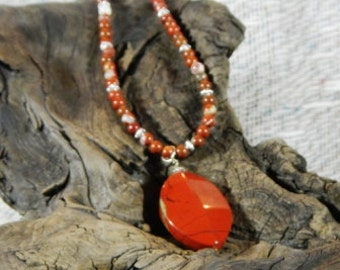 """Red River jasper necklace 19"""" long reversible faceted pendant semiprecious stone jewelry packaged in a colorful gift bag 10478"""