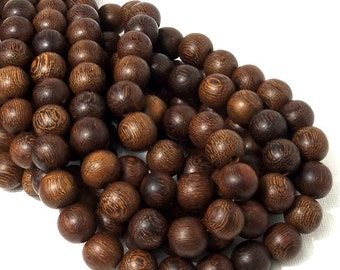 "Madre de Cacao Wood, Dark, 12mm, Round, Smooth, Natural Wood Beads, Large, Full 16"" Strand, 34pcs - ID 1650-DK"