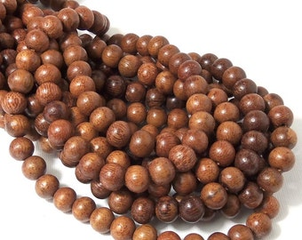 Narra Wood, 8mm-9mm, Chestnut Brown, Round, Smooth, Natural Wood Beads, Small, Full 16 Inch Strand, 50pcs - ID 1654-LT2
