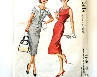50s McCalls 4549 Sheath Dress and Matching Collared One Button Jacket Size 12 Bust 32