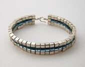 CUSTOM ORDER Art Deco Flat Square Stitch Woven Bracelet, Square Miyuki Seed Bead Woven Bracelet, Silver and Blue Band Bracelet
