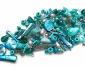 Turquoise and silver glass bead mix / bead soup