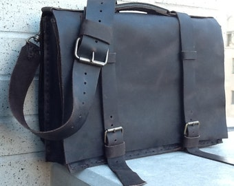 Stone Mens Briefcase Unique Handmade Dark Brown Leather Bag Computer Work Travel Satchel - Handcrafted Hand Sewn Hand Finished in NY